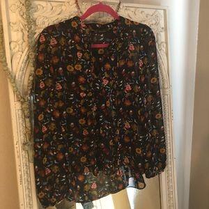 Zara Floral Print Peasant Top